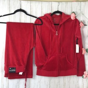New York&Company Red Velour Hoodie and pants. M